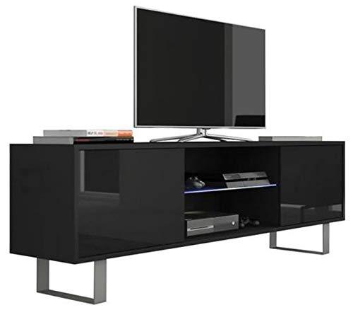 PEGANE Meuble TV Coloris Noir/Noir Brillant en Panneaux de Particules avec éclairage LED - Dim : 160 x 36 x 53 cm