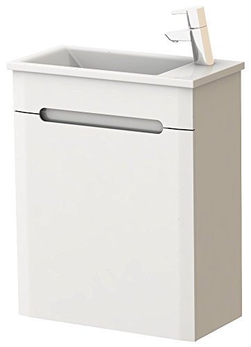 Gäste-WC Waschplatz Badmöbel Set mit 1 Tür | Maße: 48,2 cm x 60 cm x 24,1 cm (BxHxT)| Marke JUVENTA * Serie TIVOLI | Hochwertiges Keramik-Waschbecken /Waschtisch | Unterschrank in Hochglanz Weiß | Griffmuschel | Tür mit Soft-Close Funktion | Bereits vormontiert | Modernes Design | 100%ige Zufriedenheitsgarantie | Hohe Schmutzabweisung * Schlagfest * Wasserabweisend | Tür rechts öffnend