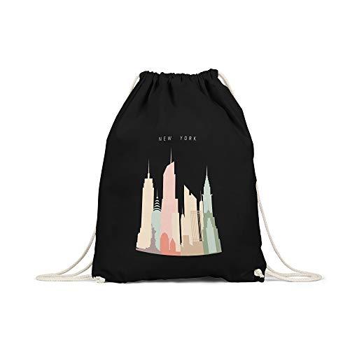 licaso Turnbeutel Bedruckt New York Skyscrapers Print in Schwarz Gym Bag Kordel Manhattan Pastell Druck Ökologisch & Nachhaltig 100% Baumwolle