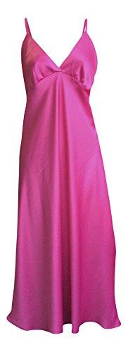 Damen Seidig Satin Licht Form Unterkleid Nachtkleid Unterwäsche Nachthemd in Verschiedenen Farben Cerise
