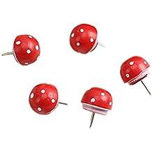 Remeehi 50pcs Lovely rojo mushroom Push Pins decoración mensaje dibujo pulgar tachuelas