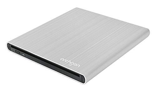Archgon Style Externer DVD Brenner/Player für PC USB 3.0 USB-C, M-Disk, Slot Load Disc Drive, Alu Silber Slot-load Dvd-rw