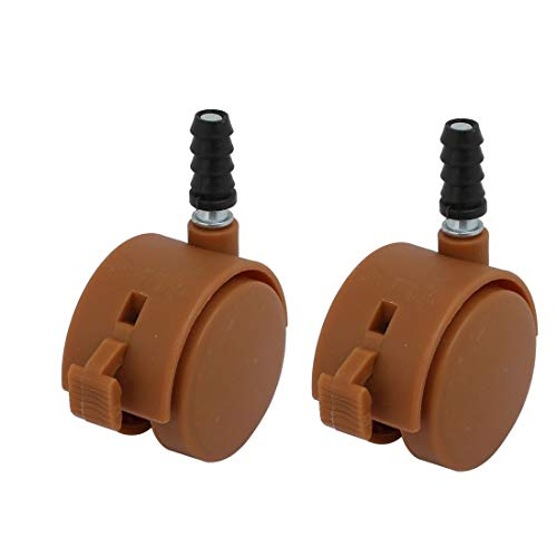 ZCHXD 2pcs 2-inch Dia 7mm Stem Swivel Brake Caster Wheel Brown - Swivel Caster