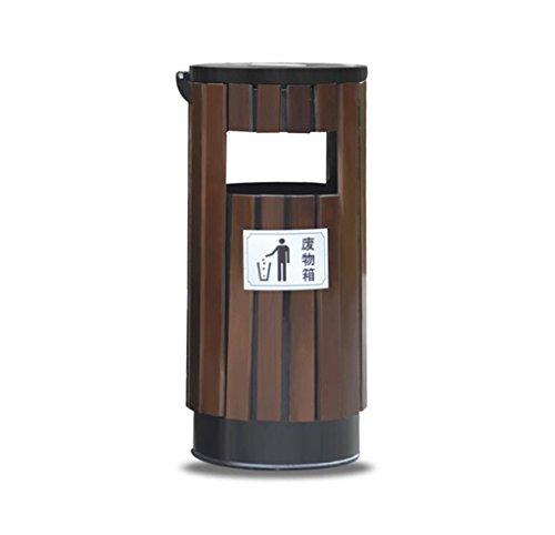 C-J-Xin Abfalleimer im Freien, großer Abfalleimer bedeckte Naturschutzgebiet-Schule im Freien Park-Gemeinschaftsleder-Kasten 38 * 82CM Hohe Kapazität (Farbe : B)