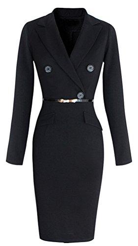 Brinny Classique Femmes En V Bodycon Causalite Crayons de Robe de Soirée Moulante Chemisier Manches Longues Rétro Robe OL Style Mince Noir 7 tailles: S-4XL Noir