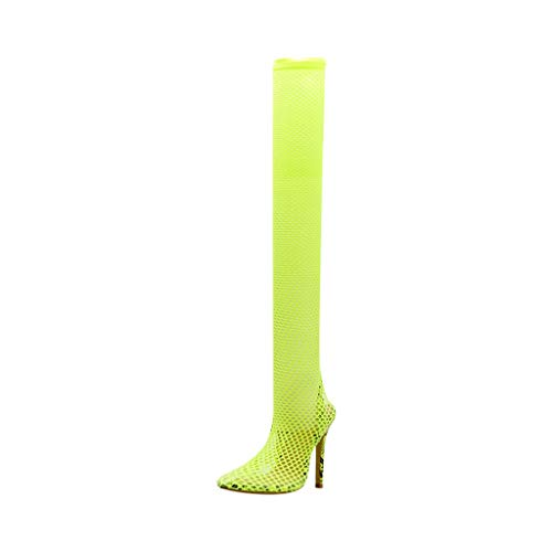 Damen Stiletto High Heel Sandalen, Frauen Sexy Stiletto Elastic Boot Spitzen High Heels Strümpfe Over-The-Knee Boot Dorical Frauen Sexy Stiletto Elastic Boot Spitzen High Heels Strümpfe (Grün, 41) - Heel Knee High