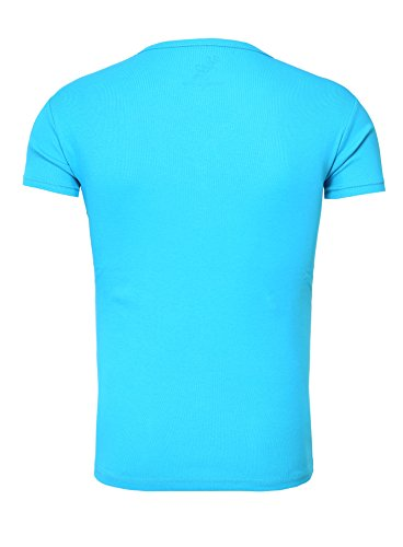 Young & Rich Herren T-Shirt CORUNA Basic Look Einfarbig mit Stickerei Sommershirt Türkis