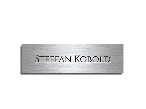 Edelstahl Schild Türschild mit Gravur und freier Motivauswahl 7x2cm - frei gestaltbar | Namensschild Briefkastenschild selbstklebend oder Bohrlöcher