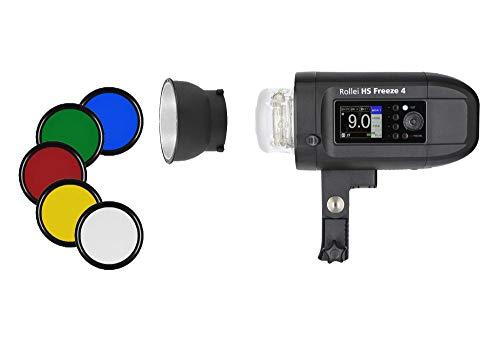 Rollei HS Freeze 4 - Professioneller Studioblitz mit Akku - Ideal für Ihr Outdoor Shooting, mit Bowens Anschluss, 400 Ws Blitzleistung und einem Gewicht von nur 2,3 Kg, inkl. Tasche und 5 Farbfolien - Schwarz