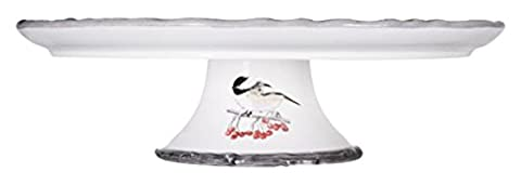 Winter Chick Ceramic Footed Cake Plate Round