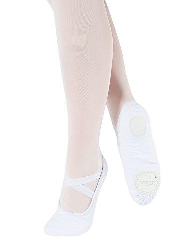 SD120-C Só Dança scarpette per danza classica in Lino ogni tipo di ginnastica sport ballo fitness con suola divisa Ampieza C per piedi normali Bianco