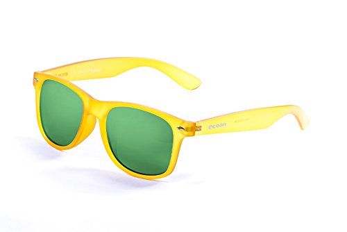 Ocean Sunglasses - Beach wayfarer - lunettes de soleil polarisées - Monture : Jaune Acide - Verres : Revo Vert (18202.99)