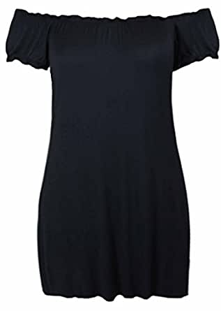 New Womes Off Shoulder Elasticated Plain Boho Ladies Stretch Fit Long Plus Size Gypsy Top Black Size 14
