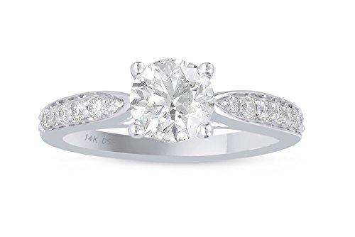 Diamond Studs Forever - Anillo de compromiso de diamantes - GH/I1 - Oro blanco 14K