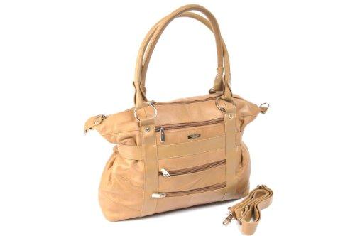 große Dameneinkaufstasche, -handtasche Leder mit abnehmbarem Schulterriemen (Schwarz / Dunkelbraun / Dunkelbeige / Dunkelblau / Rot / Hellbraun) Dunkelbeige