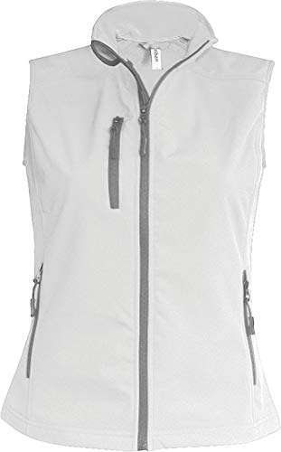K404 Damen Softshell Bodywarmer Weste wasserdicht atmungsaktiv, Größe:M;Farbe:White
