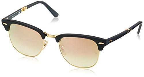 Ray Ban Unisex-Erwachsene Sonnenbrille Clubmaster Folding, (Gestell: schwarz,Gläser: kupferverlauf 901S7O), Medium (Herstellergröße: 51)