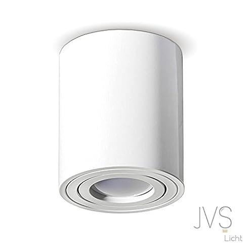 MILANO -LANG- GU10 230V LED Halogen [rund, weiss , schwenkbar] Aufbauleuchte Deckenlampe Würfelleuchte Aluminium Spot OHNE