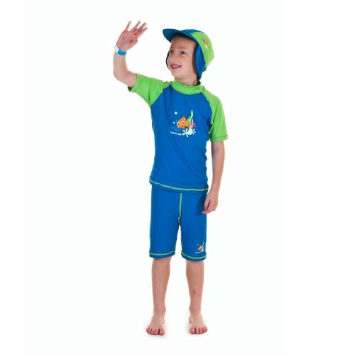 Swimfree Hut mit Seitenklappen, mit UV- und Sonnenschutz, für den Strand oder Safaris, für Kinder zwischen 1 und 10 Jahren Blau/Grün Extra Small for 1-2 Years