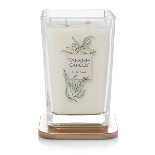 Yankee Candle Company Elevation Collection with Platform Lid, Large 2-Wick Square Candle| Arctic Frost Lavender Square Candle
