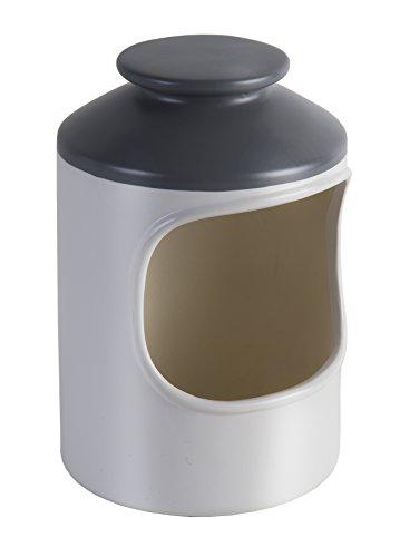Jamie Oliver Kleiner Salz-Keramik-Behälter Storage, cremeweiß, anthrazit, 10 x 10 x 17,5 cm