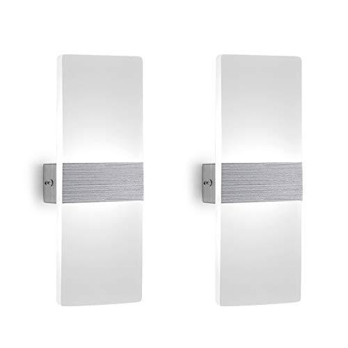 2 pezzi led lampada da parete interno 12w bianco freddo, moderno applique da parete interni, lampada a muro in acrilico perfetto per soggiorno corridoio bagno le scale luce notturna
