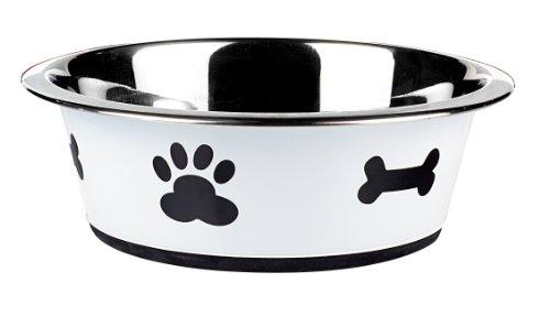 Classic Pet Products Fressnapf, klassisch, Motiv Pfotenabdrücke, 1600ml, Weiß - Klassische Finish