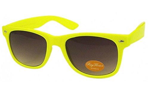 NEON GELB RETRO Fashion Designer Geek Nerd NHS Big Rave Party Brille groß Wayfarer Hot (Medium Größe)