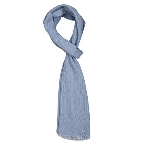 ROYALZ Schal für Herren kariert klassisch Herrenschal weich leicht dünn Karo Muster oder gestreift Halstuch Männer-Schals Accessoires mehrfarbig - ganzjährig tragbar, Farbe:Grau/Weiß