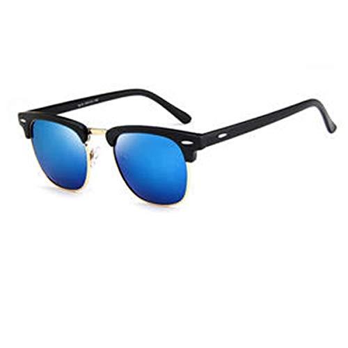 Haiyemao Mode Sonnenbrillen Unisex-Sonnenbrillen Vintage Metall + PC-Rahmen Retro Eyewear Square Frame Brillen für Männer und Frauen Sonnenbrille im Freien Sportler (Color : Blau)