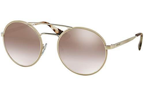 Prada PR51SS Cinema Sonnenbrille Silber Gold Mit Brauen Verspiegelten Gläsern 54mm UFH4O0 SPR51S