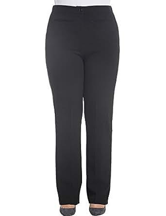 Chicwe Donna Taglie Forti Pantaloni da lavoro Trousers Curvy Fit Bootcut 48, Nero
