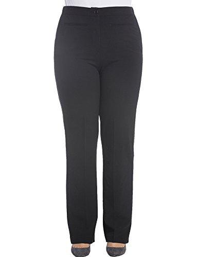Chicwe Donna Taglie Forti Pantaloni da lavoro Trousers Curvy Fit Bootcut 52, Nero (Formale Ausgestattet Klassische Shirt)