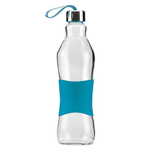 Grip & Go 1.0L Glas Wasserflasche/Kühlschrank Flasche - Rutschfester Silikongriff - Edelstahldeckel - ZYANBLAUE -