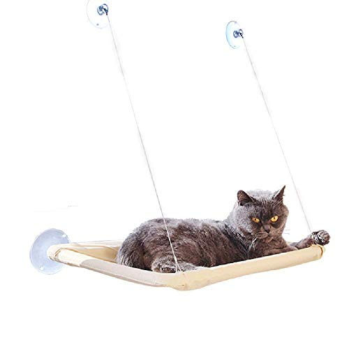 Lomire Hammock for Cat Window, Bed Seat Pendant with 4 Suction Cups Great for Napping and Sunbathing (Can Support up to 15 kg)
