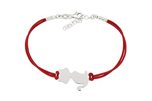 925 Sterling Silber - Elegante rote Armkette Armband für Katzenliebhaber - Katze Rote Schnur (Sterling Silber Katze Armband)