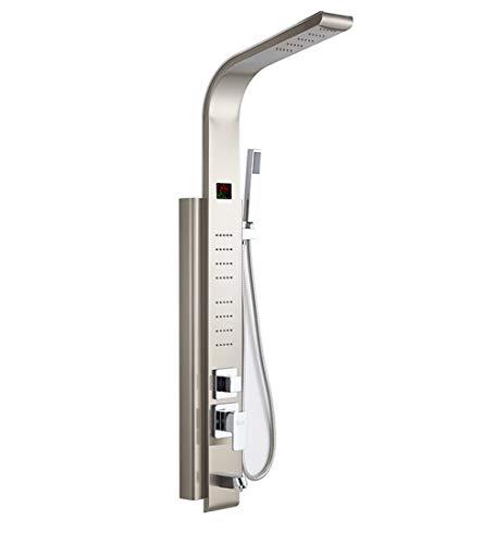 LCD Ditital Display Dusche Panel Bad Dusche Turm Spalte Mit Körper Massage Jets Freies Verschiffen Turm Dusche Spalte,Metallic -