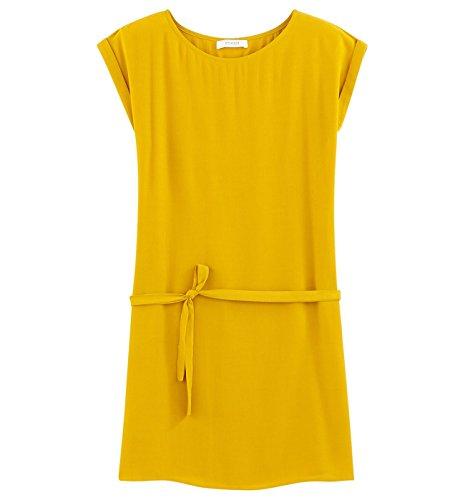 Promod Kleid aus gekrepptem Stoff Grüngelb
