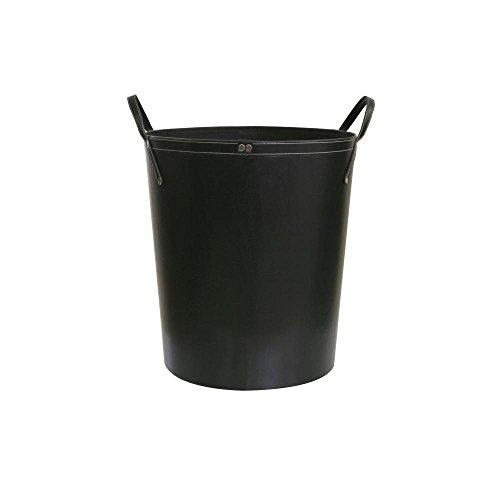 Kamino Trend Kaminholzkorb, Holzkorb, Feuerholzkorb, aus Kunstleder, mit zwei Henkeln, schwarz, Ø 48cm, 53 cm hoch