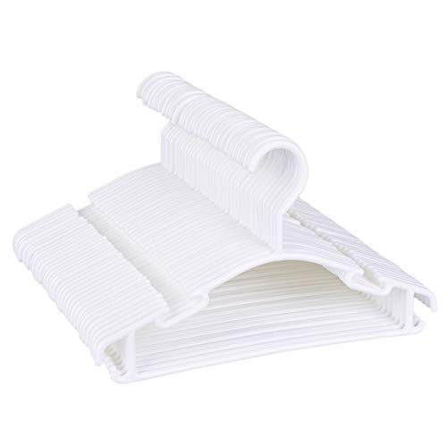 TankerStreet 36 Stück Baby Kleiderbügel Kunststoff Kinderkleiderbügel Rutschfest Plastik Hangers für Kinder Schrank Dauerhaft Schwere Haken Tubular Babykleiderbügel für Hosen Aufbewahrung Weiß (Note Kleiderbügel)