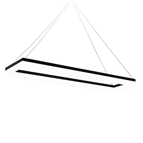 Dianguang LED Büro Kronleuchter, Einfaches Weißes Licht Rechteck Acryl Kronleuchter Schwarz Meeting Studio Engineering Lampen Bar Zähler Restaurant Kronleuchter 40-120cm (Größe : 60*30cm)