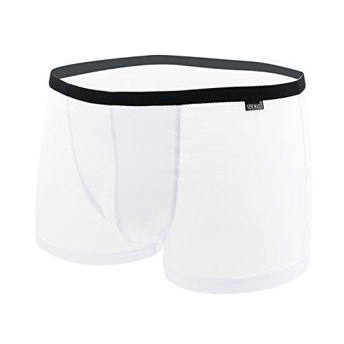 VENI MASEE® Sexy Modal Atmungsaktive Herren Boxer Shorts Unterwäsche Trunks Weiß