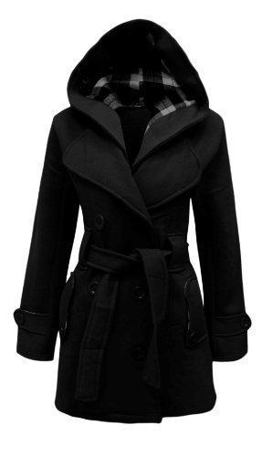 Die orange Tag Womens ceinturé Mantel zugeknöpft NEU Frauen Kapuzen Jacke Militärische großen Größen 8–�?0 Schwarz - Schwarz