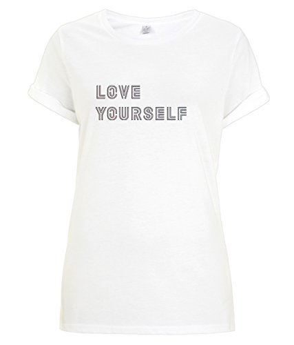 BTS Love Yourself: Her New BTS Album - Rolled Sleeves T-Shirt (White, M)