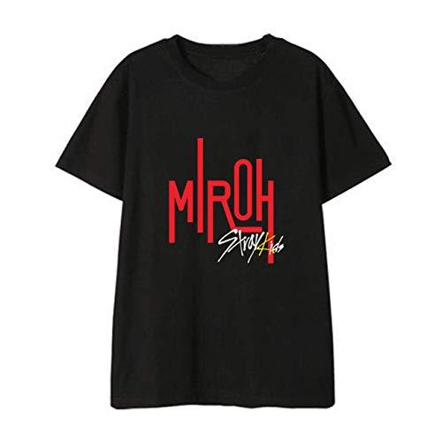 SERAPHY Stray Kids T-Shirt Neues Album MIROH gleiche Kleidung Shirt Kurzärmliges Tops Sommerkleid-FELX-Black-L