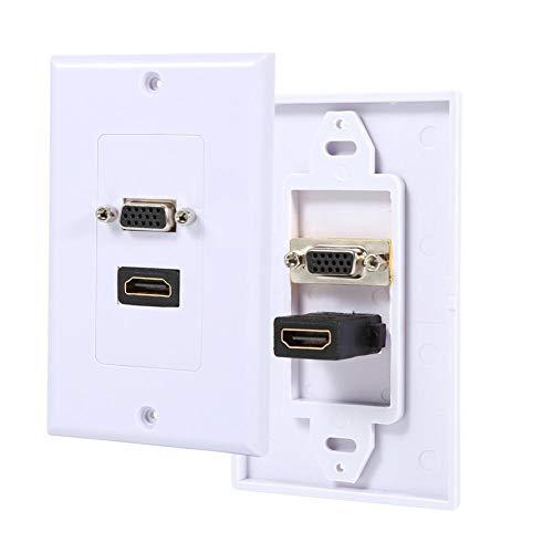 Aufee HDMI VGA-Wandplatte, 1 Port HDMI-Buchse + 1 Port VGA-AV-Steckdose, Anschlussplatte für Composite-Video-Buchse (weiß) Composite-video-wall Plate