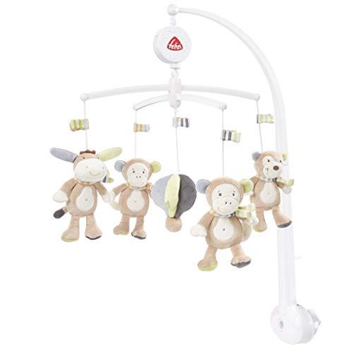 Fehn 081381 Musik Mobile Affe - Spieluhr-Mobile mit Esel, Affe und Koala in sanften Farben zum Lauschen & Staunen / Zum Befestigen am Bett für Babys von 0-5 Monaten / Höhe: 65 cm, ø 40 cm -
