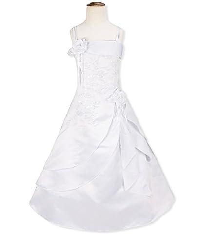 iiniim Mädchen Elegant Blumenmädchenkleider Ärmellos/Spaghetti Träger Prinzessin Kleid Brautjungfern Hochzeit Organza Kleid Weiß Träger 98-104/3-4 (Nineties Halloween Kostüme)