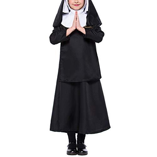 KRUIHAN Schule Halloween Leistung Nonne Kleid - Kinder Schwarz Cosplay Jesus Christus Kleidung - Jesus Christus Kind Kostüm