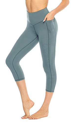 JOYSPELS Leggins Hose Damen Sport Capri Leggings 3/4 Leggins mit Taschen Blickdichte Sporthose Tights für Yoga Fitness Gym Grün L (Damen Capri Tights)